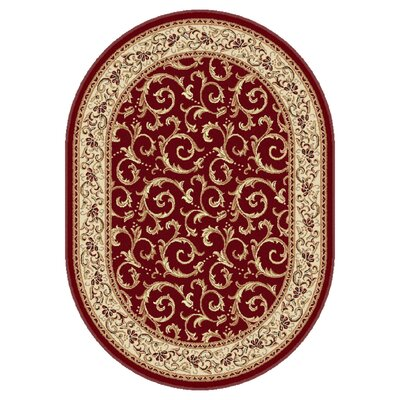 Langlee Red Floral Area Rug Rug Size: Oval 67 x 96
