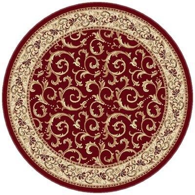 Langlee Red Floral Area Rug Rug Size: Round 710