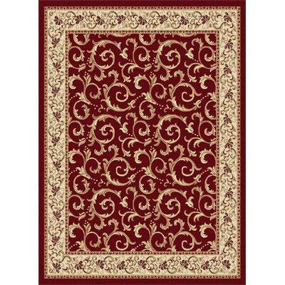 Langlee Red Floral Area Rug Rug Size: 93 x 125