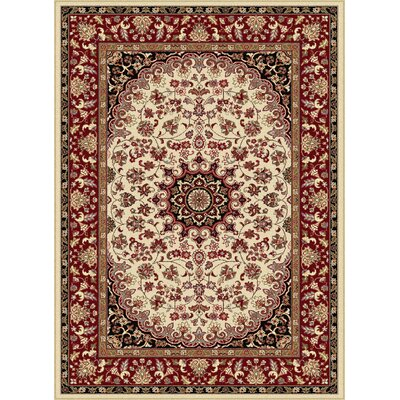 Langlee Beige/Red Area Rug Rug Size: Rectangle 93 x 126