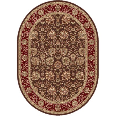 Langlee Brown/Red Area Rug Rug Size: Oval 53 x 73