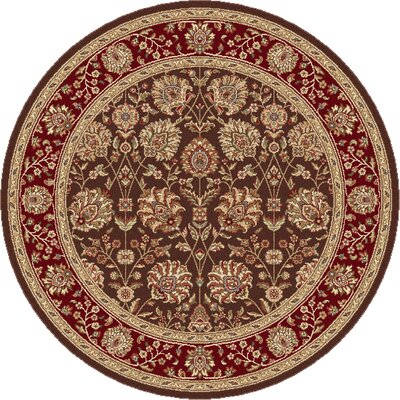 Langlee Brown/Red Area Rug Rug Size: Round 53