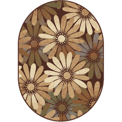 Colette Floral Tan Area Rug Rug Size: Oval 53 x 73