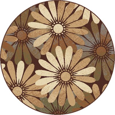 Colette Floral Tan Area Rug Rug Size: Round 53
