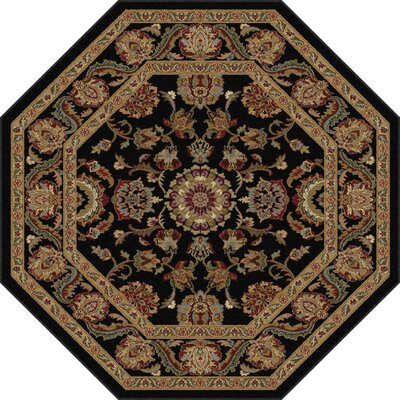 Richmond Black/Gold Area Rug Rug Size: Octagon 53