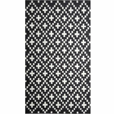Conrad Hand-Woven Black/White Area Rug Rug Size: 6 x 9