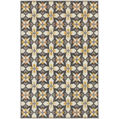 Brookline Grey/Gold Indoor/Outdoor Area Rug Rug Size: 53 x 76