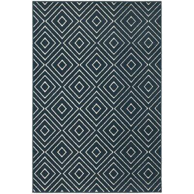 Brookline Navy/Ivory Indoor/Outdoor Area Rug Rug Size: 53 x 76