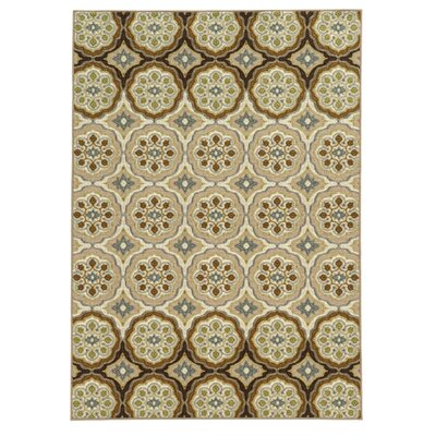 Roger Ivory/Tan Area Rug Rug Size: 67 x 93