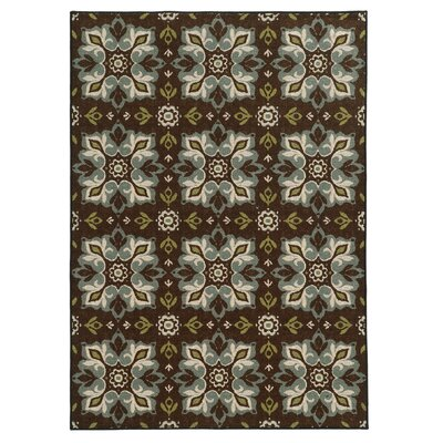 Roger Brown/Blue Area Rug Rug Size: 33 x 55
