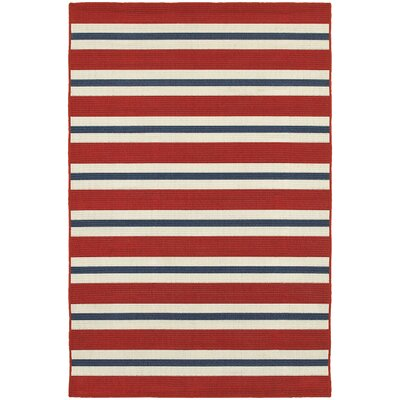 Cortlandt Red/Blue Indoor/Outdoor Area Rug Rug Size: 37 x 57