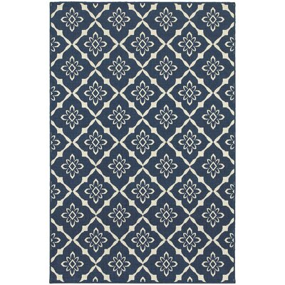 Kailani Blue Geometric Indoor/Outdoor Area Rug Rug Size: Round 710