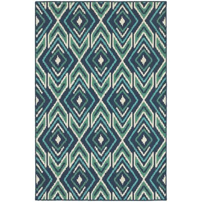 Kailani Contemporary Navy/Green Indoor/Outdoor Area Rug Rug Size: Runner 23 x 77