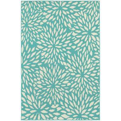 Kailani Contemporary Aqua blue/Ivory Indoor/Outdoor Area Rug Rug Size: Rectangle 53 x 77