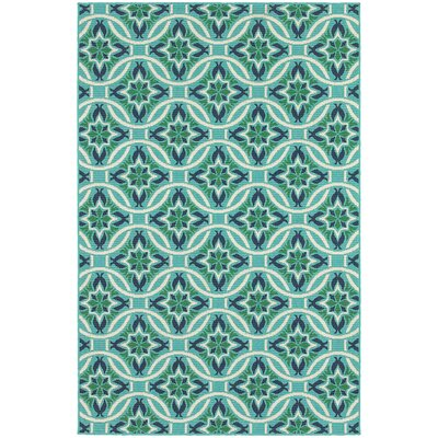 Kailani Contemporary Geometric Blue/Green Indoor/Outdoor Area Rug Rug Size: Runner 23 x 77