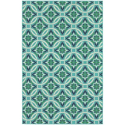 Kailani Contemporary Geometric Blue/Green Indoor/Outdoor Area Rug Rug Size: Rectangle 37 x 57
