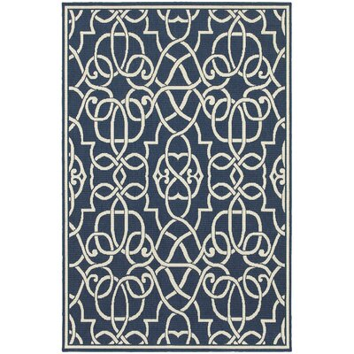 Cortlandt Navy/Ivory Indoor/Outdoor Area Rug Rug Size: 37 x 57