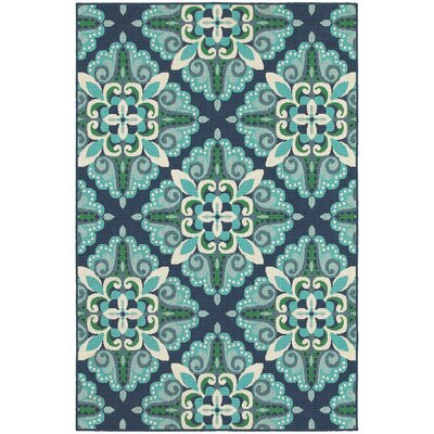 Cortlandt Blue/Green Indoor/Outdoor Area Rug Rug Size: 37 x 57