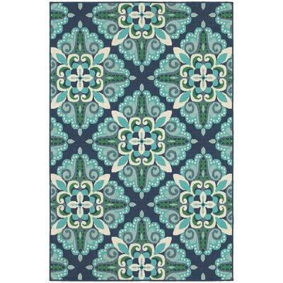 Cortlandt Blue/Green Indoor/Outdoor Area Rug Rug Size: 7'10