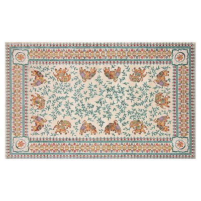 Jolene Hand-Woven Cream/Blue Area Rug Rug Size: Rectangle 56 x 86