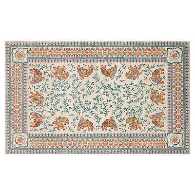Jolene Hand-Woven Cream/Blue Area Rug Rug Size: 56 x 86