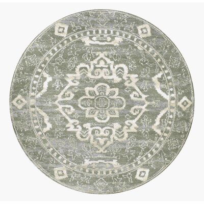 Avery Light Green Area Rug Rug Size: Round 67
