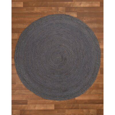 Nadine Hand-Woven Gray Area Rug Rug Size: Round 8