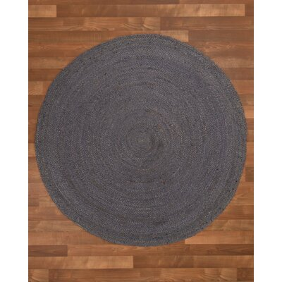 Nadine Hand-Woven Gray Area Rug Rug Size: Round 6