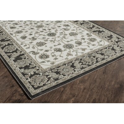 Sheldon Ivory/Black Area Rug Rug Size: Runner 22 x 8