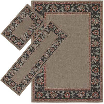 Roanoke Brown/Black 3 Piece Indoor/Outdoor Area Rug Set