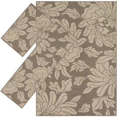 Chilton Taupe 3 Piece Indoor/Outdoor Area Rug Set