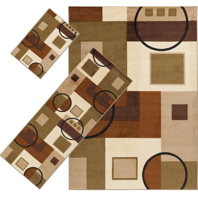 Audrey Brown/Moss 3 Piece Indoor/Outdoor Area Rug Set