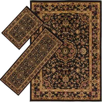 Francine Black 3 Piece Indoor/Outdoor Area Rug Set