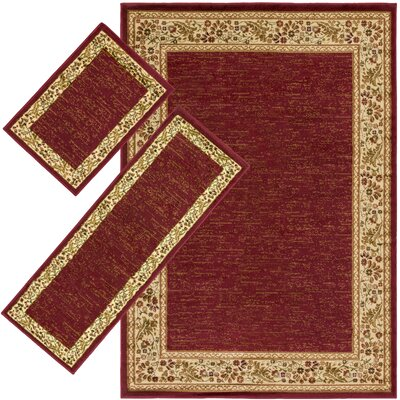 Harlan Burgundy 3 Piece Indoor/Outdoor Area Rug Set