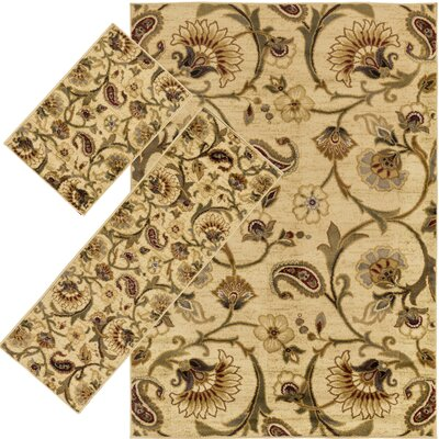 Bailey Beige 3 Piece Indoor/Outdoor Area Rug Set