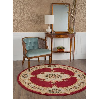 Grange Red Area Rug Rug Size: Round 53
