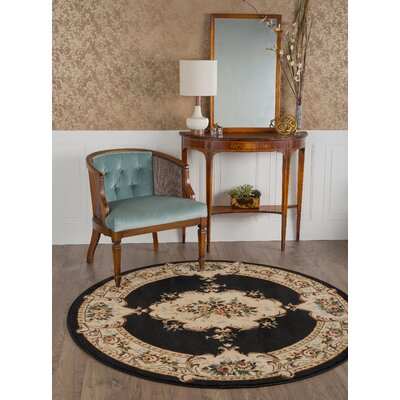 Grange Charcoal Area Rug Rug Size: Round 5'3