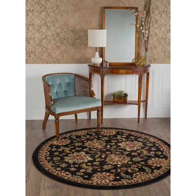 Pippins Black Area Rug Rug Size: Round 53