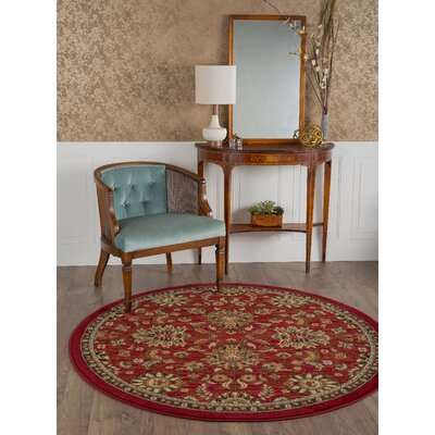 Treadway Red Area Rug Rug Size: Round 53