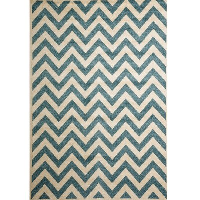 Darcy Bone/Blue Indoor/Outdoor Area Rug Rug Size: 67 x 96