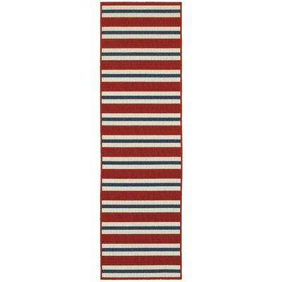 Kailani Red/Blue/White Indoor/Outdoor Area Rug Rug Size: Runner 2'3
