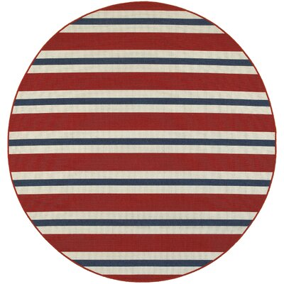 Kailani Red/Blue/White Indoor/Outdoor Area Rug Rug Size: Round 710