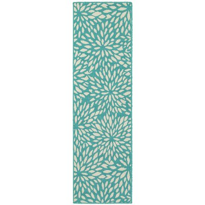 Kailani Contemporary Aqua blue/Ivory Indoor/Outdoor Area Rug Rug Size: Runner 23 x 77