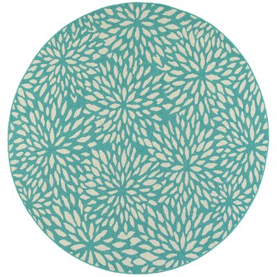 Kailani Contemporary Aqua blue/Ivory Indoor/Outdoor Area Rug Rug Size: Round 7'10