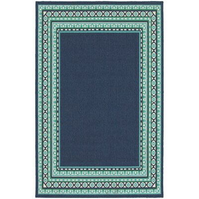 Cortlandt Navy/Green Indoor/Outdoor Area Rug Rug Size: 3'7