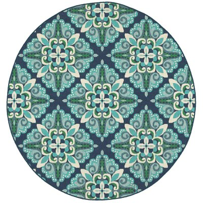 Kailani Contemporary Blue/Green Indoor/Outdoor Area Rug Rug Size: Round 710
