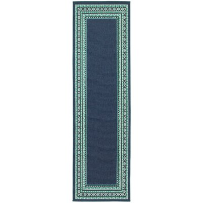Kailani Navy/Green Indoor/Outdoor Area Rug Rug Size: Runner 23 x 77