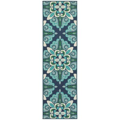 Cortlandt Blue/Green Indoor/Outdoor Area Rug Rug Size: Runner 2'3
