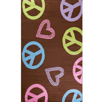 Alisa Peace and Polka Hearts Kids Rug Rug Size: 27 x 41