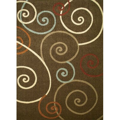 Chester Brown Scroll Area Rug Rug Size: 53 x 73